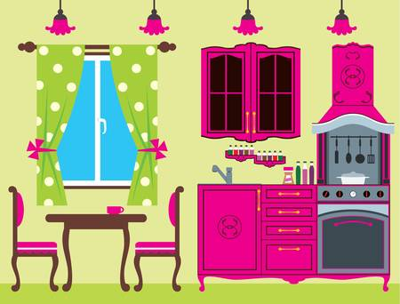 Kitchen furniture  Interior  Stock Vector - 14446562