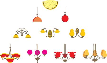 Set of chandeliers Vector