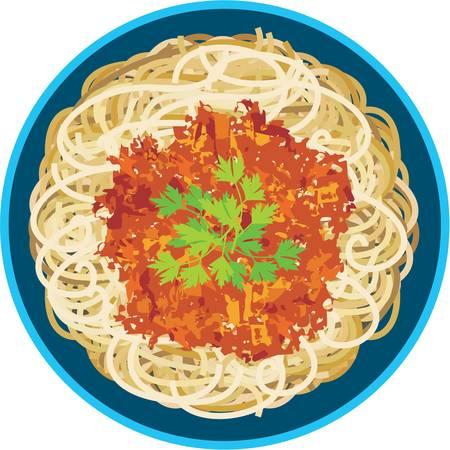 Spaghetti dans une plaque Vecteurs