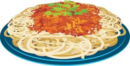 basil herb: Espaguetis en una placa
