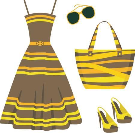 ankleiden: Sommer Reihe von Kleidung