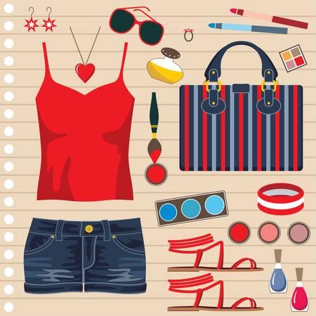 denim shorts: Fashion set with jeans skirt Illustration