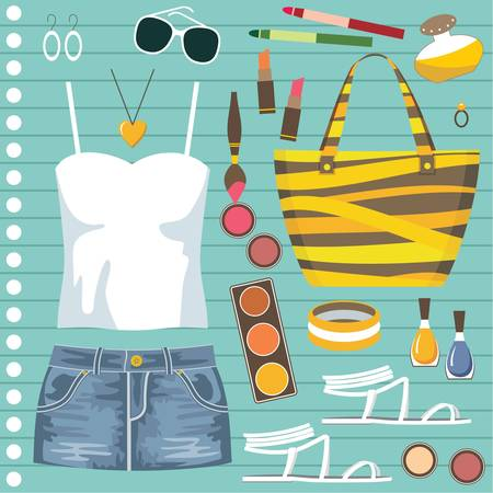 denim skirt: Fashion set with jeans skirt Illustration