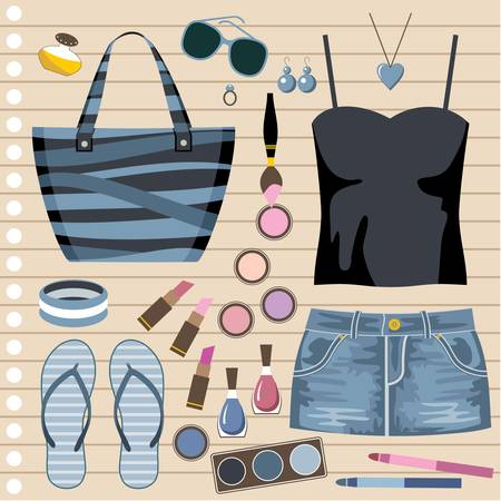 Fashion set with jeans skirt Vector