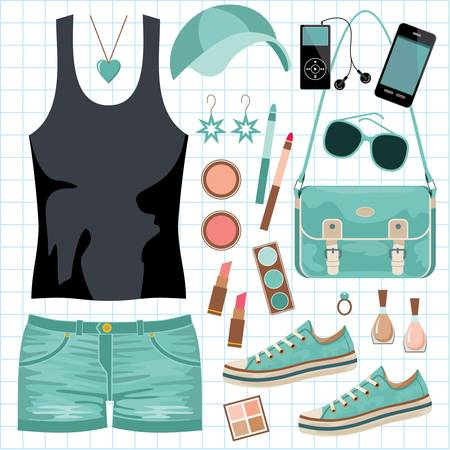 Youth fashionable set Stock Vector - 14601984