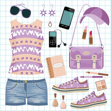 Youth fashionable set Stock Vector - 14601986