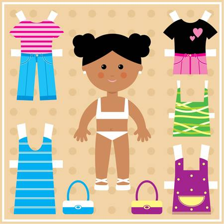 girls with bows: Paper doll with clothes set Illustration