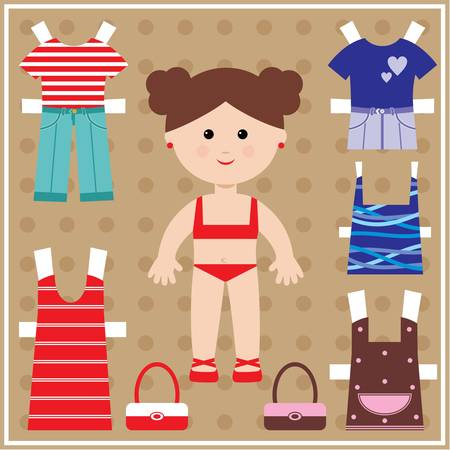 Paper doll with clothes set Illustration