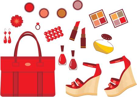 Set of red accessories Vector