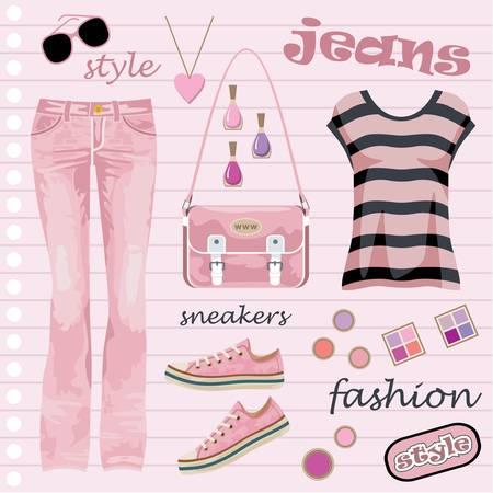 moda casual: Jeans de moda juego Vectores