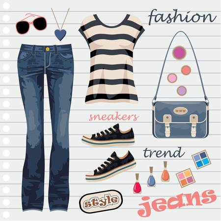 Jeans fashion set Stock Vector - 14601995