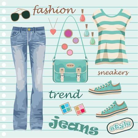 Jeans divat meg Illusztráció