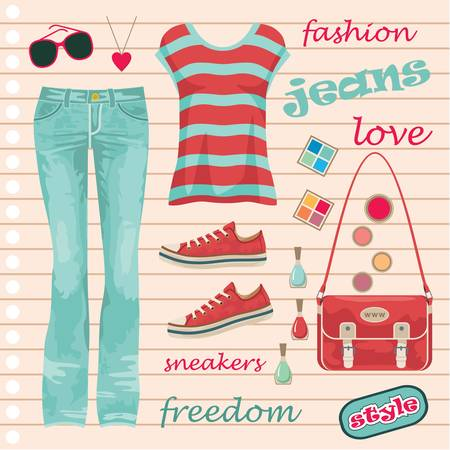 Jeans fashion set Stock Vector - 14601998