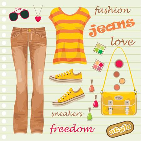 designer bag: Jeans de moda conjunto