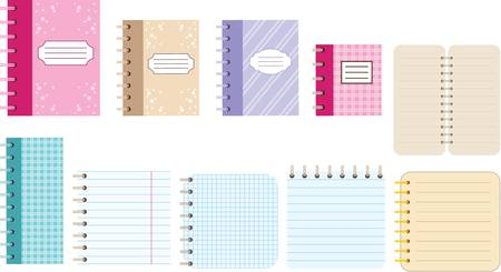 Paper notebooks. Diaries. Vector