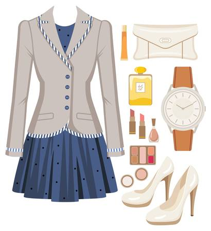 makeup fashion: Fashion set from a female suit, accessories and cosmetics Illustration