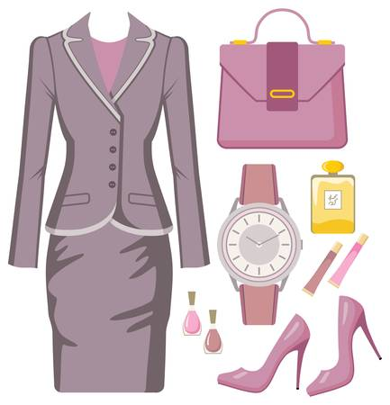 skirt suit: Fashion set from a female suit, accessories and cosmetics Illustration