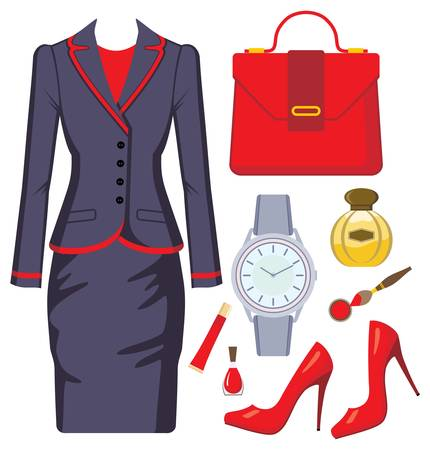 Fashion set from a female suit, accessories and cosmetics Vector