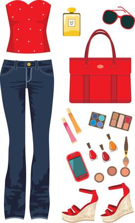red jeans: Fashion set