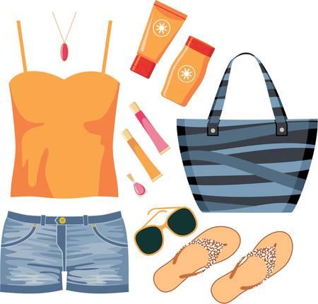 lipstick tube: Fashionset of summer clothes Illustration