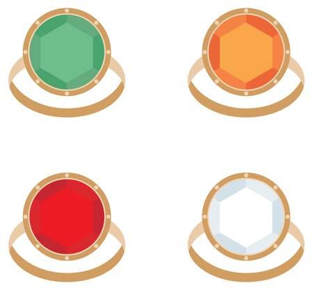 Set of female jeweler rings Vector