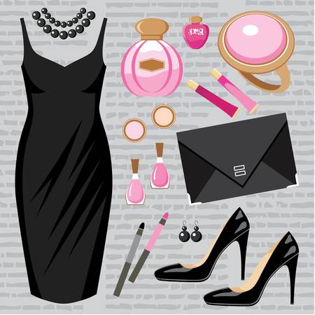 cocktaildress: Fashion set met een cocktail jurk Stock Illustratie