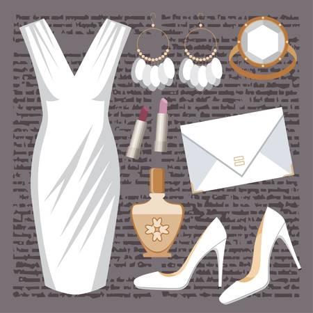 Mode gesetzt mit einem Kleid Vektorgrafik