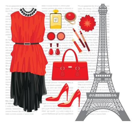 Fashion set with the Eiffel Tower Stock Vector - 14891135