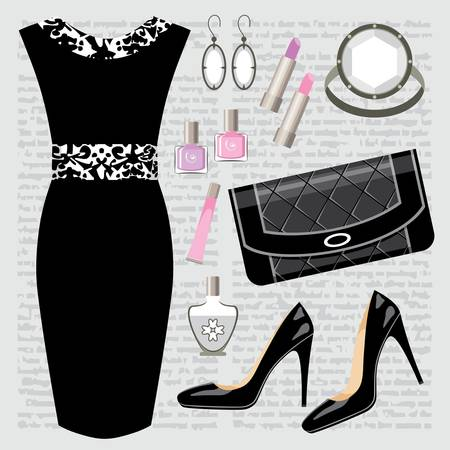 Fashion set with a dress Stock Vector - 15219384