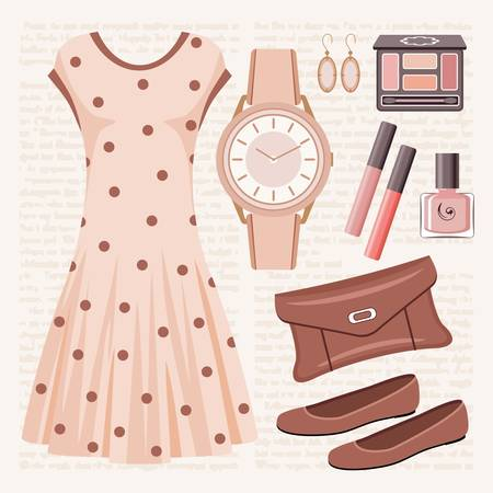 Fashion set in pastel tones with a dress Stock Vector - 15219378