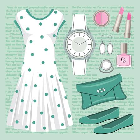 Fashion set in pastel tones with a dress Stock Vector - 15219380