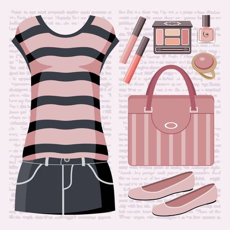 Fashion set with a top and a skirt. Stock Vector - 15219379
