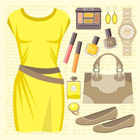 Fashion set with a casual dress Stock Vector - 15219382