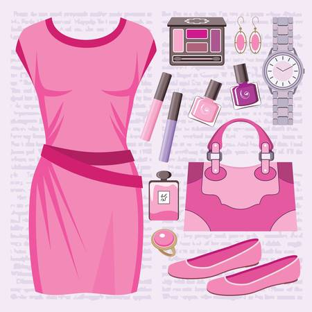 casual dress: Fashion set with a casual dress Illustration