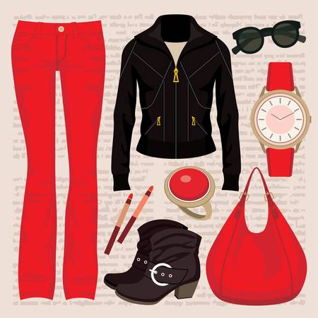 wristwatch: Fashion set with jeans and a jacket Illustration