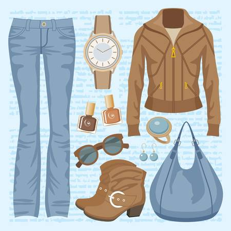fashion set: Fashion set with jeans and a jacket Illustration