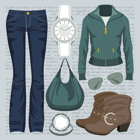 Fashion set with jeans and a jacket Stock Vector - 15239236
