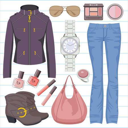 Fashion set with jeans and a jacket Stock Vector - 15239228