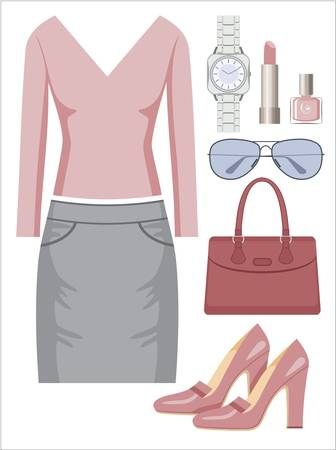 Fashion set with a skirt and a sweater Vector