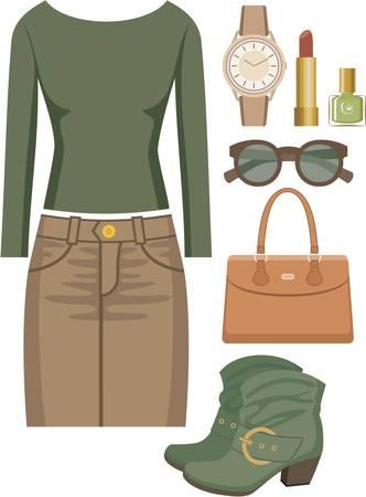 moda casual: Fashion set con una falda y un su�ter Vectores