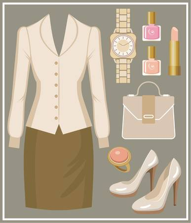 blouse: Fashion set with a blouse and a skirt
