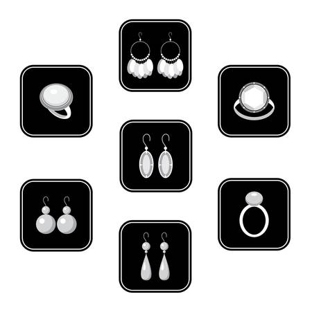Set of black icons with jewelry Vector