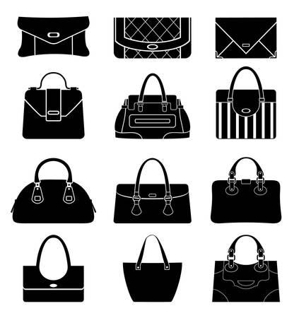 Zwarte pictogrammen vrouwelijke tassen