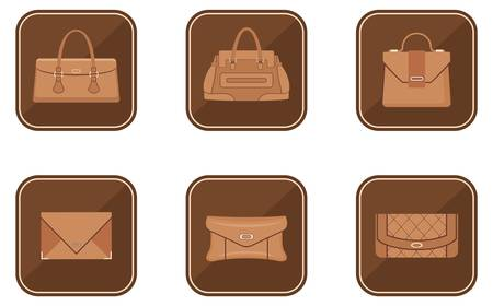 Set of fashion icons with bags Vector