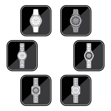 lady clock: Set of black icons with the image of a female watch
