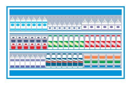 consommation: Les rayons des supermarch�s avec des produits laitiers