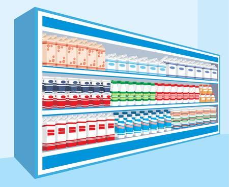 Scaffali dei supermercati con i prodotti lattiero-caseari