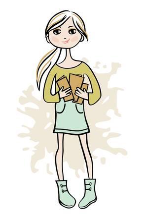 adolescencia: Dibujado a mano muchacha con los libros