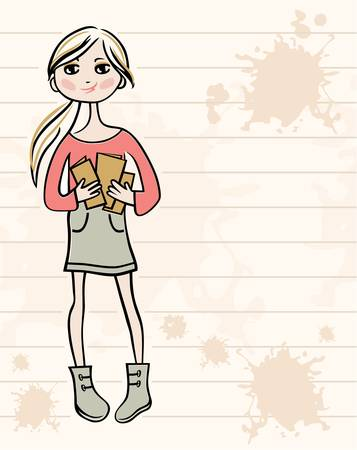 adolescence: Hand drawn girl with books