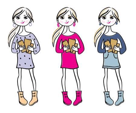 teenage girl: Hand drawn girls with books